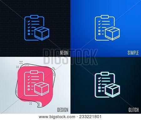 Glitch, Neon Effect. Parcel Checklist Line Icon. Logistics Check Sign. Package Control Symbol. Trend