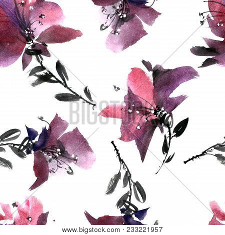 Watercolor And Ink Illustration Of Purple Flowers. Sumi-e, U-sin Painting. Seamless Pattern.