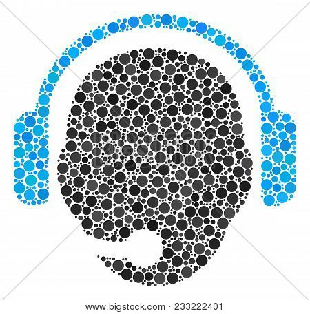 Operator Head Mosaic Of Filled Circles In Variable Sizes And Color Shades. Round Dots Are Grouped In