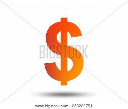 Dollars Sign Icon. Usd Currency Symbol. Money Label. Blurred Gradient Design Element. Vivid Graphic
