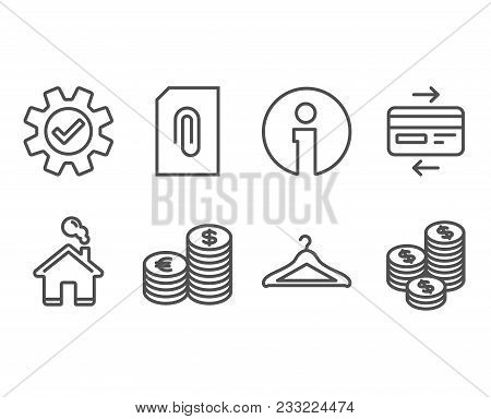Set Of Credit Card, Service And Currency Icons. Cloakroom, Attachment And Coins Signs. Bank Payment,