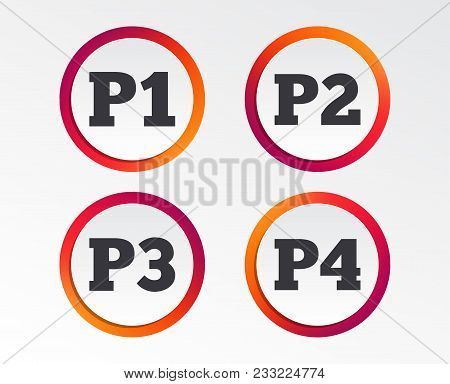 Car Parking Icons. First, Second, Third And Four Floor Signs. P1, P2, P3 And P4 Symbols. Infographic