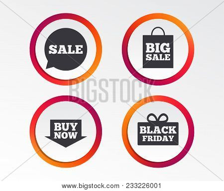 Sale Speech Bubble Icons. Buy Now Arrow Symbols. Black Friday Gift Box Signs. Big Sale Shopping Bag.
