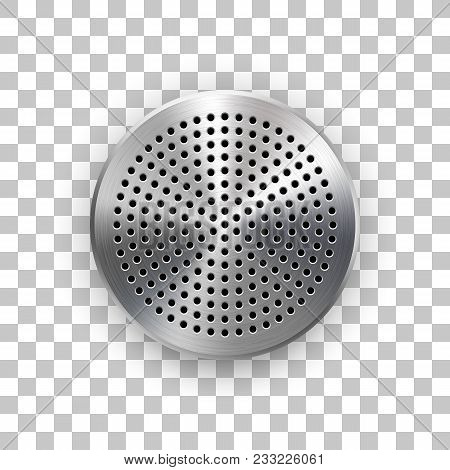 Abstract Circle Badge, Audio Button Template With Circle Perforated Speaker Grill Pattern, Metal Tex