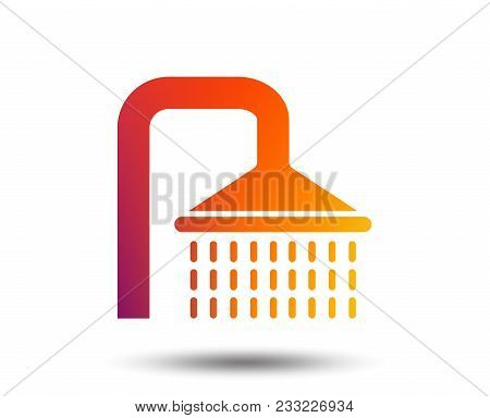 Shower Sign Icon. Douche With Water Drops Symbol. Blurred Gradient Design Element. Vivid Graphic Fla