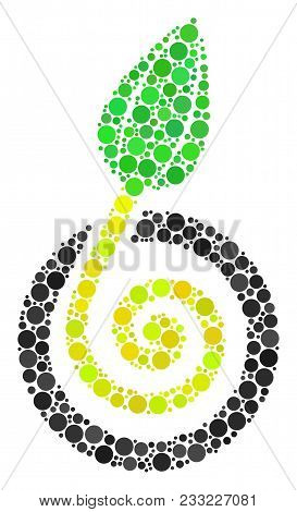 Seed Sprout Mosaic Of Dots In Different Sizes And Color Hues. Circle Dots Are Grouped Into Seed Spro