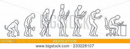 Evolution Homo Sapiens. Social Media Evolution. Editable Line Sketch Icon. Stock Vector Illustration