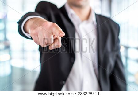 Boss Giving Order Or Firing Employee. Powerful Business Man Pointing Camera With Finger. Angry Execu