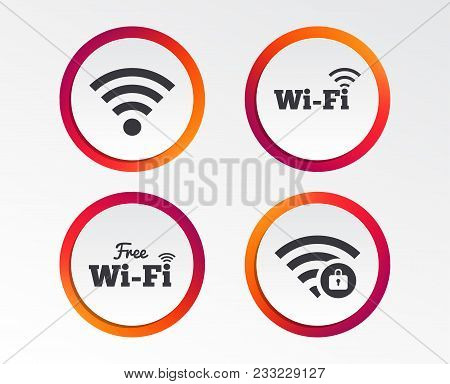 Free Wifi Wireless Network Icons. Wi-fi Zone Locked Symbols. Password Protected Wi-fi Sign. Infograp