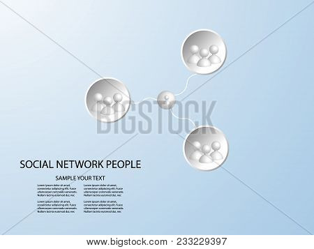 Connect Group 3d People - Man Team Social Network Concept With Connected Lines In White Circle On Bl