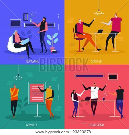 Coworking Flat Design Concept, Team Work, Start Up Projects, Creative Idea, Brain Storm, Isolated Ve