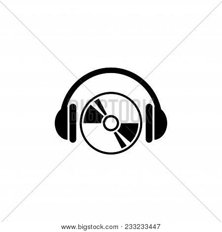 Cd Dvd With Headphones. Flat Vector Icon. Simple Black Symbol On White Background