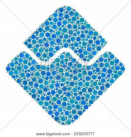 Waves Currency Mosaic Of Filled Circles In Different Sizes And Color Tints. Circle Dots Are Composed
