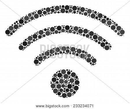 Wi-fi Source Collage Of Circle Dots In Different Sizes And Color Hues. Circle Elements Are Organized