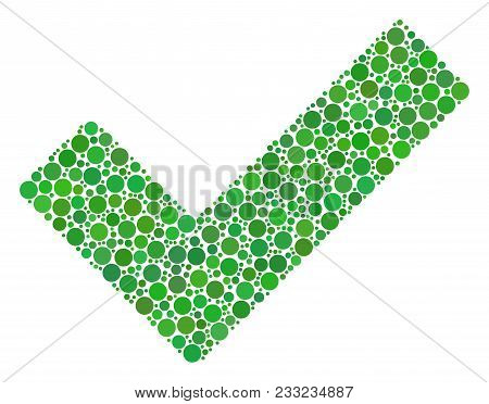 Yes Collage Of Circle Dots In Variable Sizes And Color Tinges. Circle Dots Are Grouped Into Yes Vect