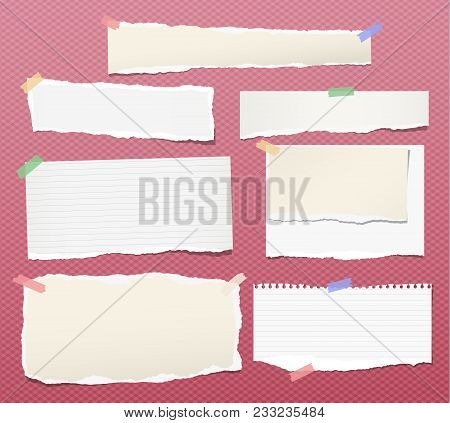 Pieces Of Torn White Lined And Blank Note, Notebook Paper Strips For Text Stuck With Colorful Sticky
