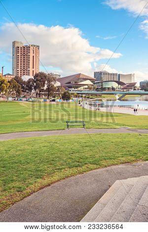 Adelaide,  Australia - August 27, 2017: Adelaide City Skyline Viewed From Rotunda In Elder Park On A