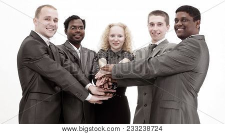 Business Team Showing Union With Their Hands Together Forming A Pile.photo With Copy Space