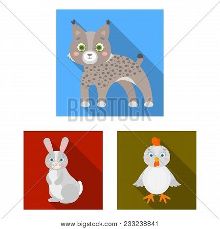 Toy Animals Flat Icons In Set Collection For Design. Bird, Predator And Herbivore Vector Symbol Stoc