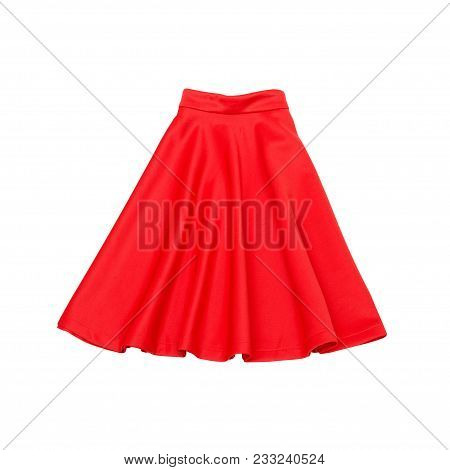 Red Skirt.  Fashionable Concept. Isolated. White Background