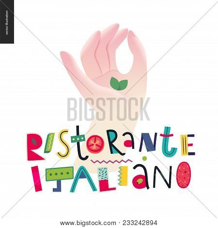 Italian Restaurant Set - Hand And Lettering Italian Restaurant In Italian