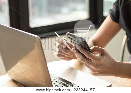 Shoping Online, Ecommerce And Convenient Concpet, Woman Or Wife House Using Phone With Holding Cradi