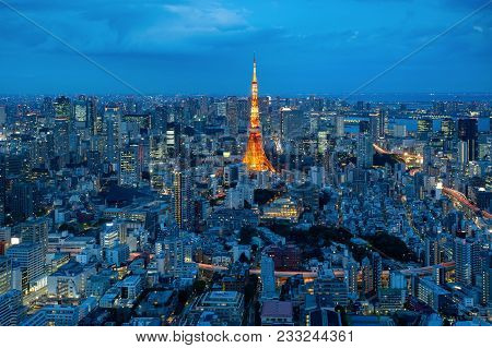 Aerial View Of Tokyo City View With Tokyo Tower In Night Time . Tokyo Is A Most Popular City In Asia