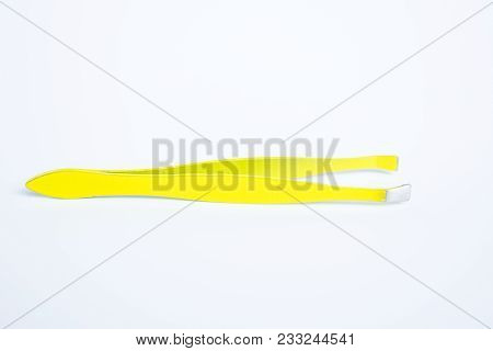 Little Metal Hair Tweezers Isolated Over White Background