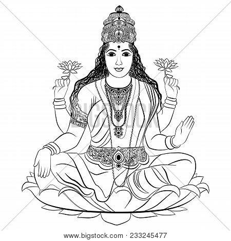 Indian Goddess Lakshmi Sitting On Lotus. Vector Illustration