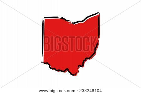 Stylized Red Sketch Map Of Ohio Illustration Vector