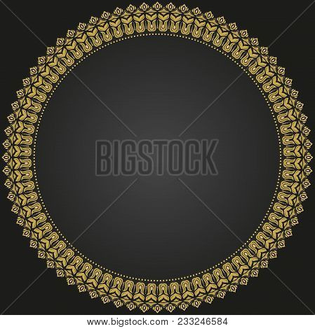 Oriental Vector Round Pattern With Golden Arabesques And Floral Elements. Traditional Classic Orname