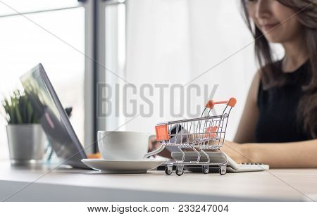 Shoping Online, Ecommerce And Convenient Concpet, Woman Or Wife House Holding Cradit Card For Buying
