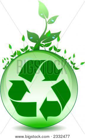 Recycling Symbol On Glass Globe