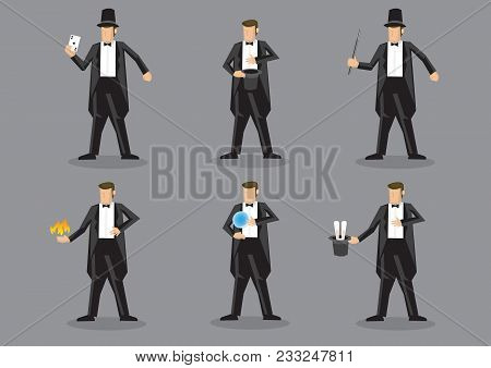 Set Of Six Vector Cartoon Illustration Of Magician Character Performing Different Magic Tricks Isola