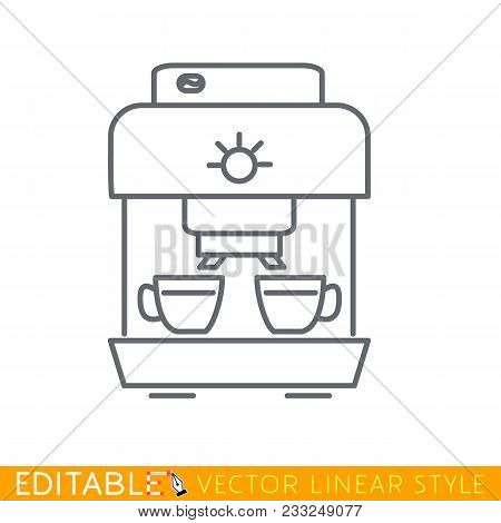 Two Cups Coffee Machine Line Icon. Editable Line Sketch Icon. Stock Vector Illustration.
