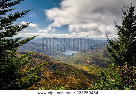 An Autumn Storm Flows Over The Top Of The Mountains On Blue Ridge Parkway In North Carolina, Usa. La