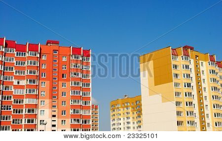 Multistory Yellow And Red Houses