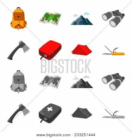 Ax, First-aid Kit, Tourist Tent, Folding Knife. Camping Set Collection Icons In Cartoon, Monochrome