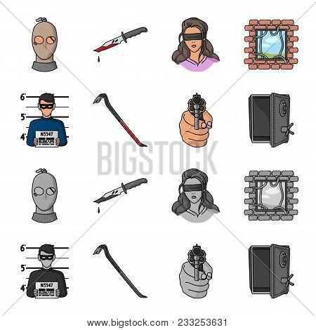 Photo Of Criminal, Scrap, Open Safe, Directional Gun.crime Set Collection Icons In Cartoon, Monochro