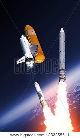 Space Shuttle Solid Rocket Boosters Separation Over Clouds. 3d Illustration.