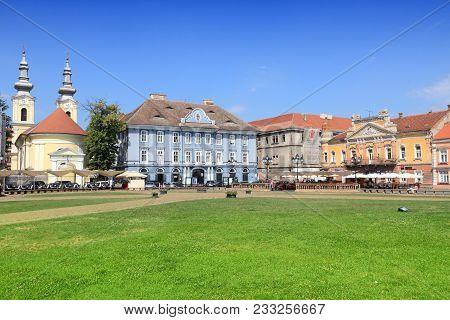 Timisoara, Romania - August 14, 2012: People Visit Unirii Square In Timisoara, Romania. Romania Had