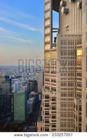 Tokyo, Japan - November 17: Tourists Watching Sunset From Tokyo Metropolitan Government Building Obs