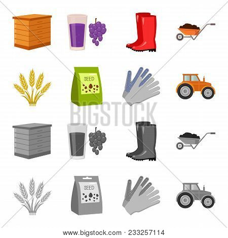 Spikelets Of Wheat, A Packet Of Seeds, A Tractor, Gloves.farm Set Collection Icons In Cartoon, Monoc