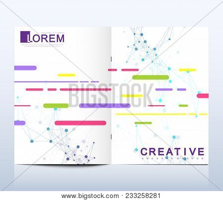 Modern vector template for brochure, Leaflet flyer, advert, cover, catalog, magazine or annual report. Business, science, medical design. Scientific pattern structure molecule DNA. Card surface poster