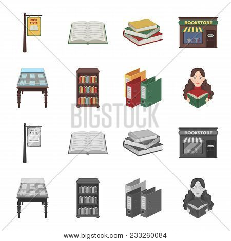 Library And Bookstore Cartoon, Monochrome Icons In Set Collection For Design. Books And Furnishings