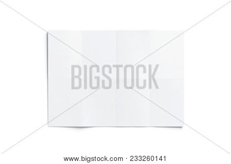 Blank White Folded Map Mockup, Isolated, Top View, 3d Rendering. Chart Template Mock Up Display. Cle