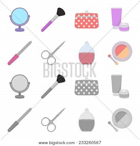 Nail File, Scissors For Nails, Perfume, Powder With A Brush.makeup Set Collection Icons In Cartoon,
