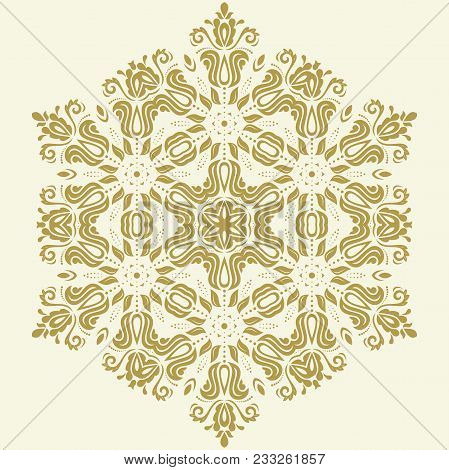 Oriental Golden Pattern With Arabesques And Floral Elements. Traditional Classic Ornament. Vintage P