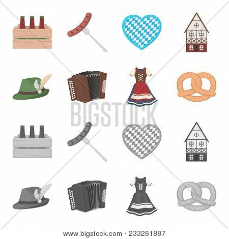 Tyrolean Hat, Accordion, Dress, Pretzel. Oktoberfest Set Collection Icons In Cartoon, Monochrome Sty