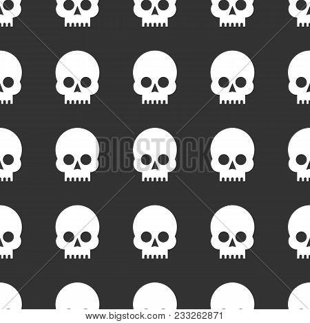 Skulls Seamless Pattern. Stock Flat Vector Illustration.